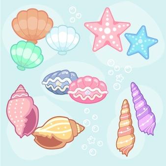 Colección de diseño de conchas