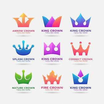 Colección de diseño creativo de logo de corona
