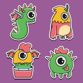 Colección de diseño de etiqueta de monstruo de dibujos animados