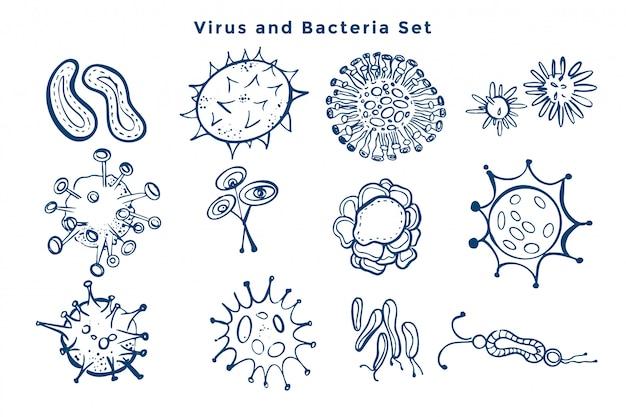 Colección de diseño de gérmenes de virus y bacterias.
