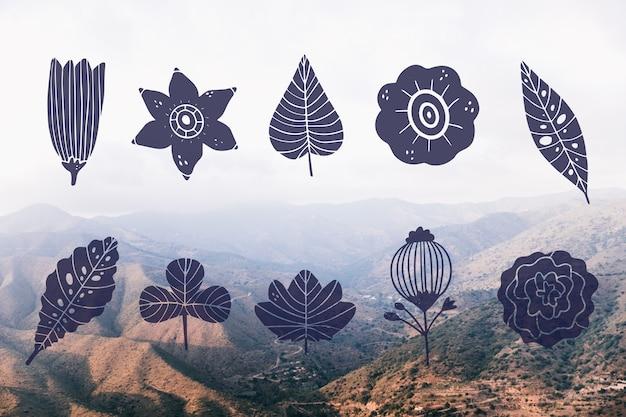 Colección de diseño de hojas y paisaje de montaña.