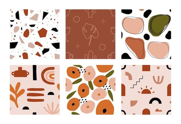 Colección de diseño de impresión de arte contemporáneo boho