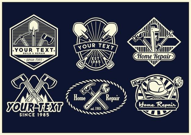 Colección de diseño de insignia de herramientas de trabajo