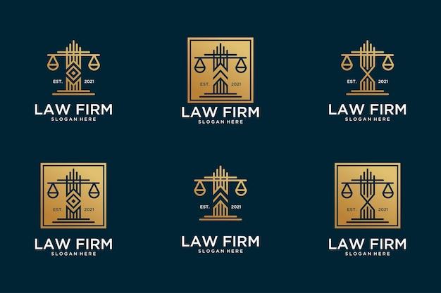 Colección de diseño de logo dorado de bufete de abogados