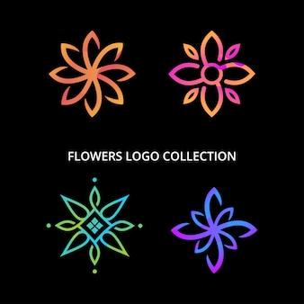 Colección de diseño de logo de flores
