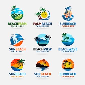 Colección de diseño de logo de playa.