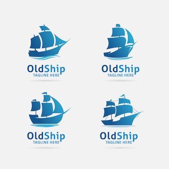Colección de diseño de logotipo de barco antiguo