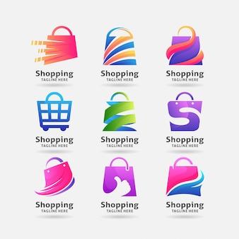 Colección de diseño de logotipo de bolsa de compras