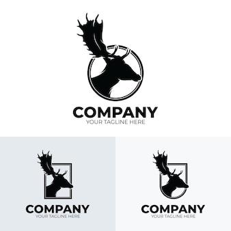 Colección de diseño de logotipo de club de caza de ciervos.