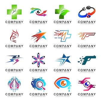 Colección de diseño de logotipo de empresa abstracta