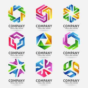 Colección de diseño de logotipo de empresa hexagonal redonda