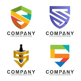 Colección de diseño de logotipo de escudo