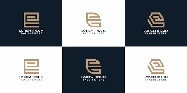 Colección de diseño de logotipo de letra e elegante monograma creativo