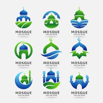 Colección de diseño de logotipo de mezquita