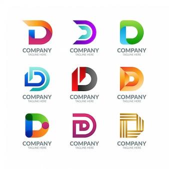 Colección de diseño de logotipo moderno colorido letra d