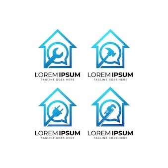 Colección de diseño de logotipo de servicio de reparación de viviendas