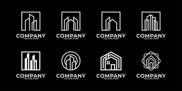 Colección de diseño de logotipos de arte de línea inmobiliaria de construcción