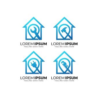 Colección de diseño de logotipos de construcción de edificios