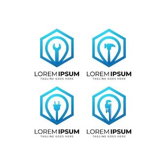 Colección de diseño de logotipos de construcción de edificios.