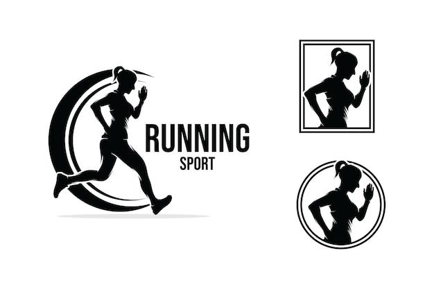 Colección de diseño de logotipos para correr