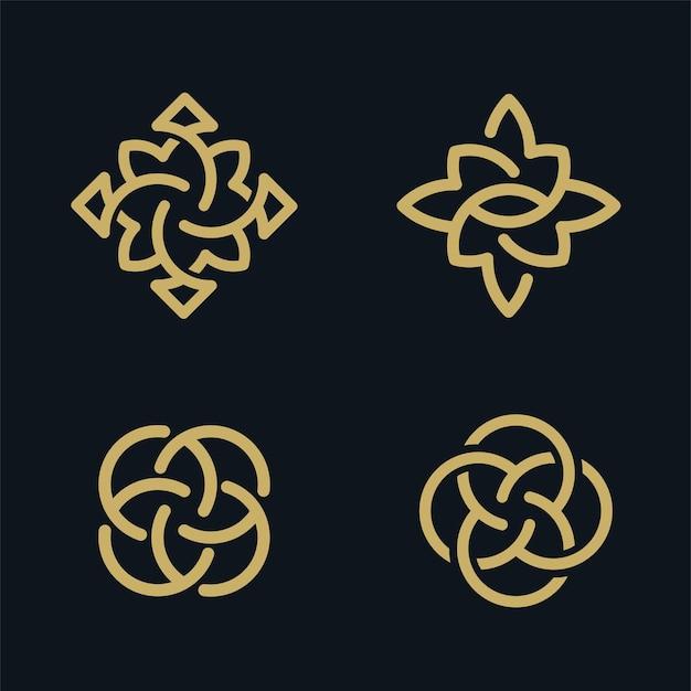 Colección de diseño de logotipos de flores doradas de lujo