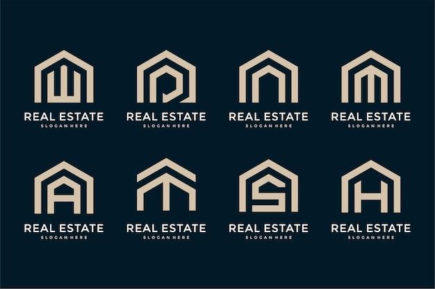 Colección de diseño de logotipos inmobiliarios de letras