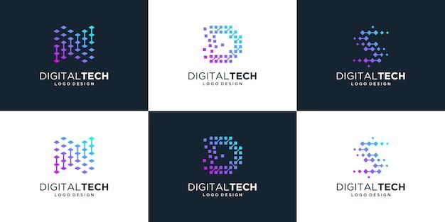 Colección de diseño de logotipos de letras nd y s