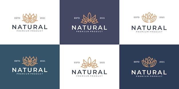 Colección de diseño de logotipos de lujo para marca, identidad corporativa logotipo de flores de belleza de arte de línea de lujo