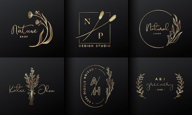 Colección de diseño de logotipos de lujo para marca, identidad corporativa
