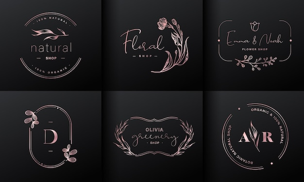 Colección de diseño de logotipos de lujo