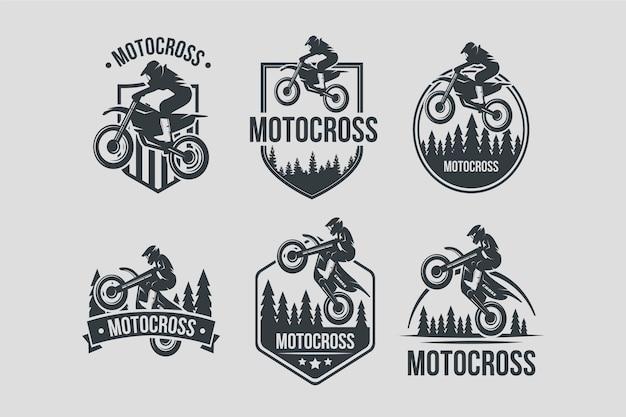 Colección de diseño de logotipos de motocross