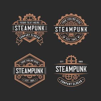 Colección de diseño de logotipos steampunk