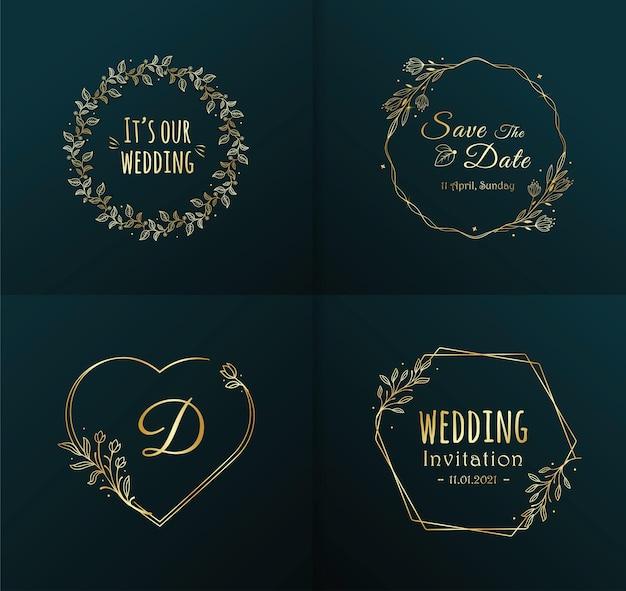 Colección de diseño de monogramas de boda de lujo