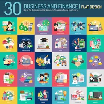 Colección de diseño de negocios y finanzas