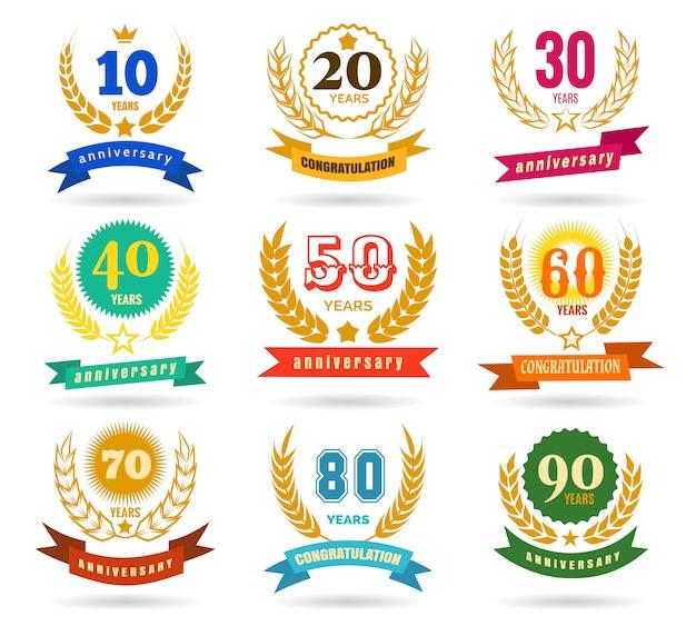 Colección de diseño de números de aniversario