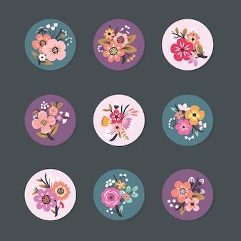 Colección de diseño de pin con beautiful floral