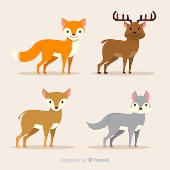 Colección de diseño plano de animales del bosque otoñal