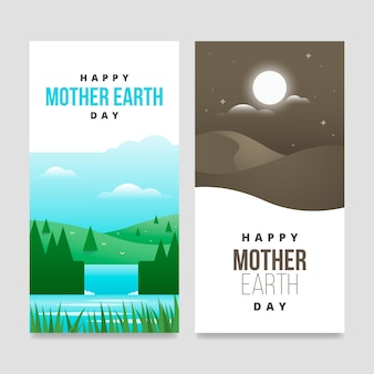 Colección de diseño plano de banner del día de la madre tierra