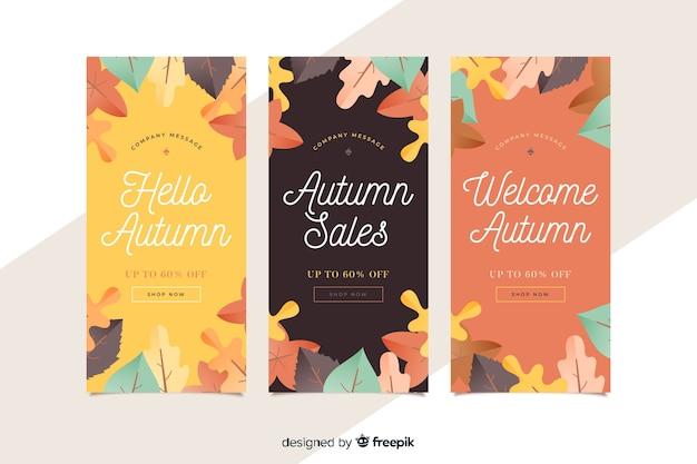 Colección de diseño plano de banner de ventas de otoño
