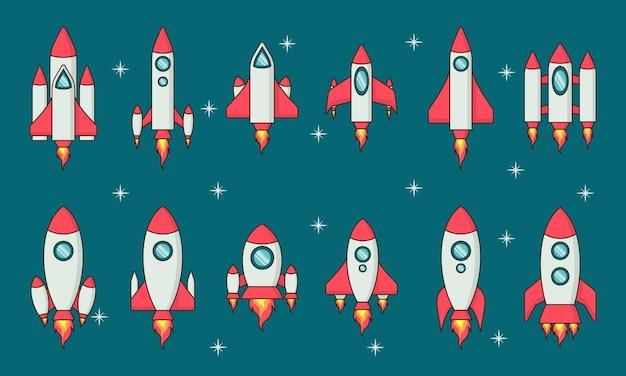 Colección de diseño plano de cohetes