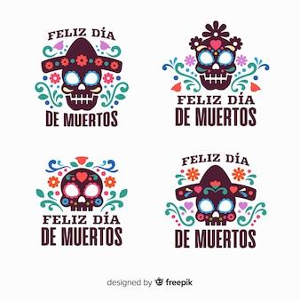 Colección de diseño plano del día de los muertos
