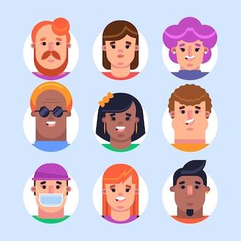 Colección de diseño plano de diferentes iconos de perfil