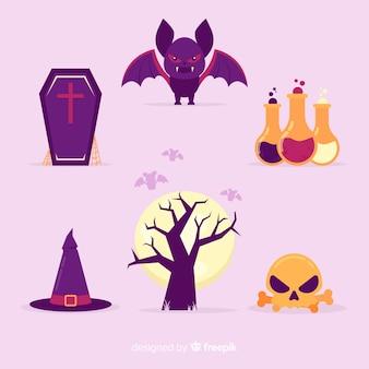 Colección de diseño plano de elementos de halloween