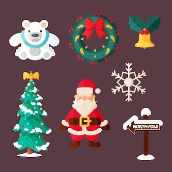 Colección de diseño plano de elementos navideños