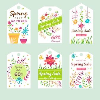 Colección de diseño plano etiqueta de primavera