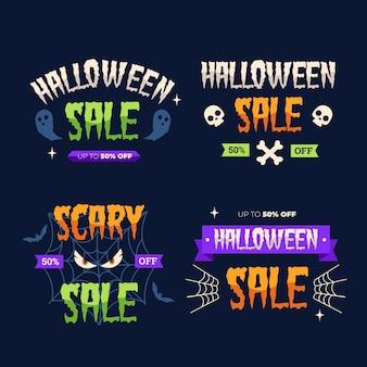 Colección de diseño plano de etiquetas de halloween