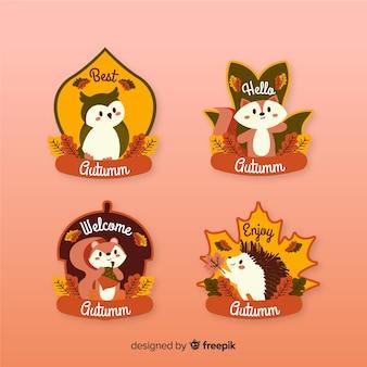 Colección de diseño plano de etiquetas otoño.