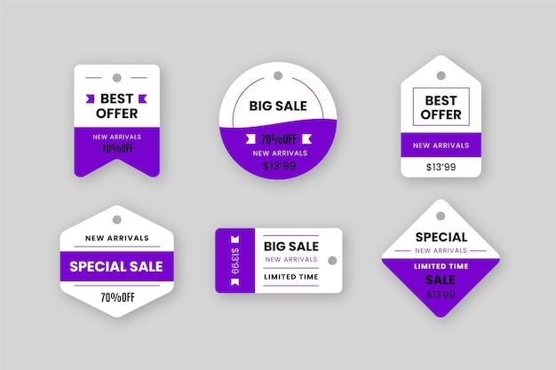 Colección de diseño plano de etiquetas de ventas.