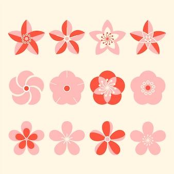 Colección de diseño plano de flores de sakura