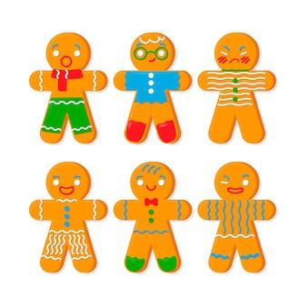 Colección de diseño plano gingerbread man cookie